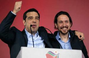 Alexis Tsipras, Syriza, och Pablo Iglesias, Podemos.