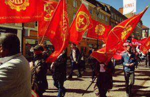 Kommunisternas första maj-demonstration i Malmö. Foto: Janne Matt