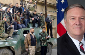 (t.v) Syriska rebeller ur Fria syriska armén (FSA). (t.h.) CIA-chefen Mike Pompeo. Foto: Freedom House/CIA/CC BY 2.0