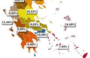Här visas en karta över var Greklands Kommunistiska Parti (KKE) är starka i olika regioner.