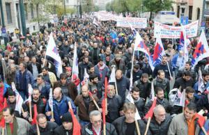 Tusentals strejkande arbetare var ute på gatorna i Grekland.