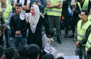 Flyktingdemonstration på Medborgarplatsen. Foto: Ung i Sverige