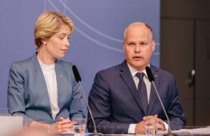 Regeringsombildning 2017 – Annika Strandhäll och Morgan Johansson. Foto: Björn Nordqvist/Socialdemokraterna på Flickr