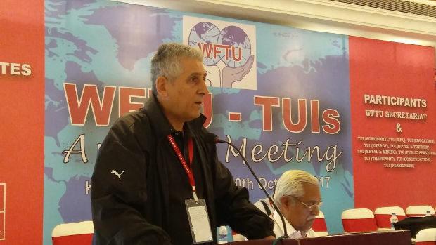 George Mavrikos, generalsekreterare i Fackliga världsfederationen (FVF), (på engelska World Federation of Trade Unions, WFTU). Arkivbild