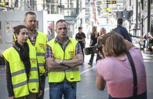 Arkivbild. Strejkvakterna från fackföreningen Seko på Malmö Central fotograferas och intervjuas 2014. Foto: News Øresund - Peter Mulvany
