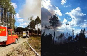 Arkivbild. Räddningstjänsten har fått hjälp av helikoptrar som vattenbombar skogsbränder. Foto: Räddningstjänsten Jämtland