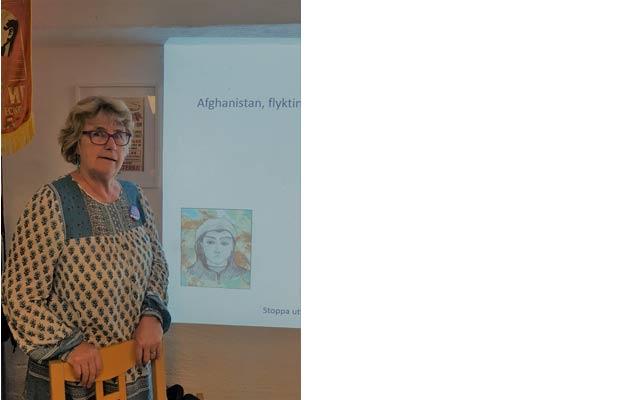 Karin Fridell Anter informerade hos SKP i Uppsala om den skrämmande situationen för unga ensamkommande flyktingar.