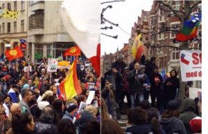 Victor Diaz De Filippi t.h., från SKPs partistyrelse, talar på Chile-manifestationen.