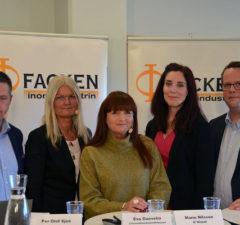 Representanter från Facken inom industrin: Per-Olof Sjöö, Eva Guovelin, Marie Nilsson, Ulrika Lindstrand, Martin Linder. Pressbild/Sveriges Ingenjörer