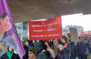 8 mars-demonstration i Stockholm 2020.