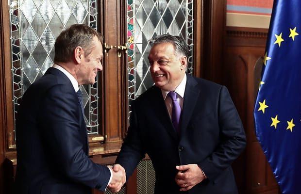 Februari 2018: Dåvarande Europeiska rådets ordförande, Donald Tusk, och Victor Orban. Foto: European Council President/Flickr (CC BY-NC-ND 2.0)