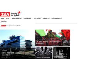 Skärmdump av Zeitung der Arbeits webbsida.