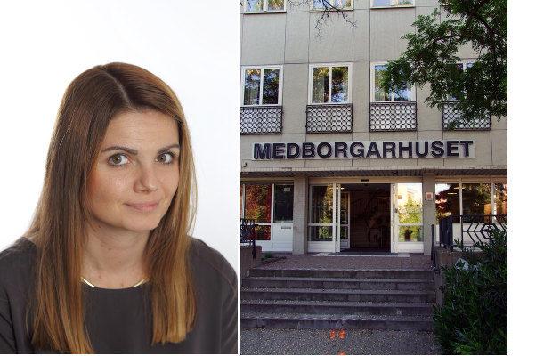 Socialnämndens ordförande Sara Vestering (M) vill inte uttala sig i pressen, t.h. Burlövs medborgarhus. Foto: Pressbild/Burlövs kommun, Janne Matt/Riktpunkt