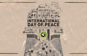 Affischen är baserad på designen för en kampanj för fred publicerad av DUV 1984.